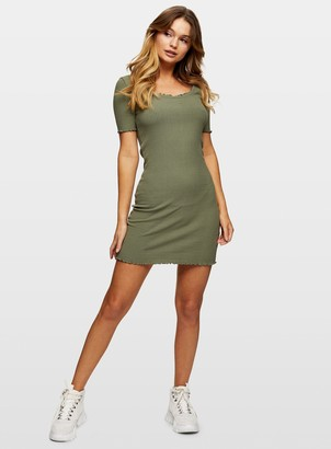 Miss Selfridge Khaki Rib Bodycon Mini Dress