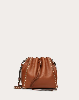 Valentino Garavani Small Rockstud Grainy Calfskin Bucket Bag Women Brown 100% Pelle Di Vitello - Bos Taurus OneSize