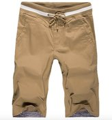 WSLCN Men Bermudas Chino Shorts Cotton Pants With Drawstring Solide Color 33