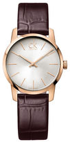 Calvin Klein City Rose Goldtone Stainless Steel Brown Leather Strap Watch, K2G23620