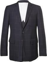 Wooster + Lardini Blue Slim-Fit Windowpane-Checked Wool Blazer