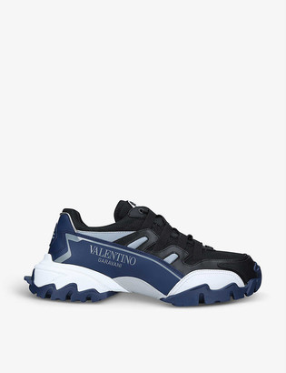 Valentino Climbers leather and mesh mid-top trainers