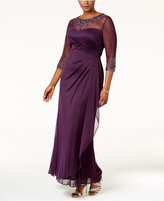 Xscape Evenings Plus Size Embellished Illusion Ruched Gown