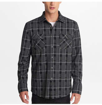 Karl Lagerfeld Paris Men Window Pane Plaid Shirt With Snap Buttons And Faux Leather Trim Detail