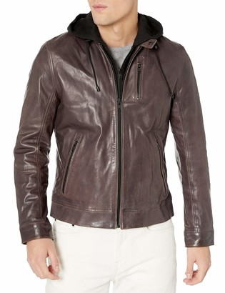 LAMARQUE Men's Slayer Washed Lambskin Leather Biker Jacket with Removable French Terry Hoodie