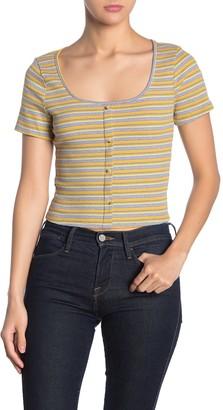 Lush Button Front Scoop Neck Stripe Top