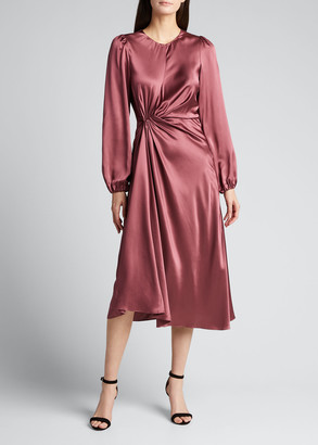 Cinq à Sept Wanda Long-Sleeve Ruched Dress