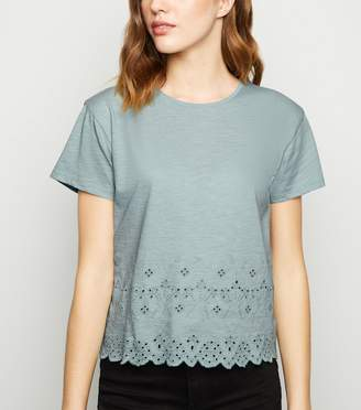 New Look Broderie Scallop Hem T-Shirt