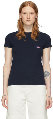 MAISON KITSUNÉ Navy Tricolor Fox T-Shirt