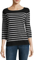 Liz Claiborne 3/4-Sleeve Button-Back Stripe Tee