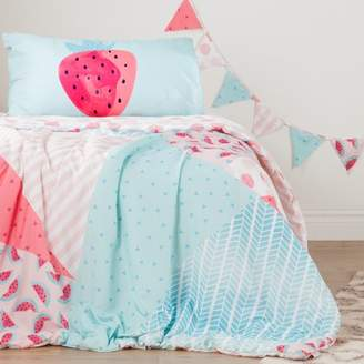 South Shore Dreamit Pink and Turquoise Strawberry Watermelon Reversible Kids Comforter and Pillowcase Set with Pennant Banner, Twin