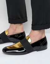 Asos Smart Loafers In Black And Gold Patent Leather
