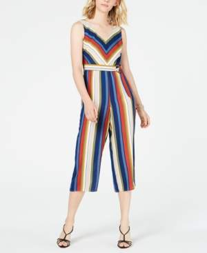 Crystal Doll Juniors' Striped Gaucho Jumpsuit