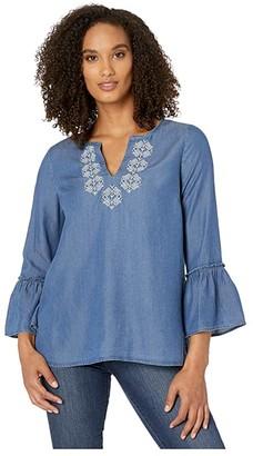 Wrangler V-Neck Chambray Bell Sleeve (Denim) Women's Clothing