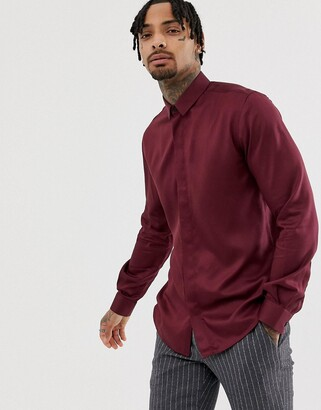 Twisted Tailor super skinny shirt in burgundy-Red