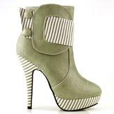 Show Story Striped Button Zipper High Heel Stiletto Platform Ankle Boots,FZ30303GR38,7US