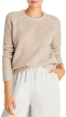 Aqua Cashmere Shell Stitch Sleeve Cashmere Sweater - 100% Exclusive