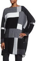 eskandar Slim Sleeve Square Intarsia Cashmere Sweater, Gray Mood