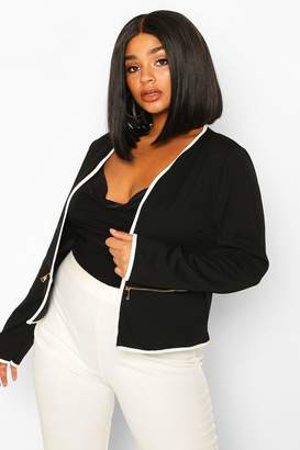 boohoo Plus Contrast Piping Zip Detail Cropped Blazer