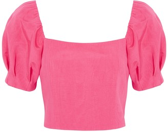 Alice + Olivia Joslyn pink puff-sleeve satin-twill top