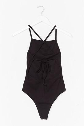 Nasty Gal Never Open Back Down Ribbed High-Leg Bodysuit - Black