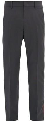 Valentino Side-striped Wool-blend Slim-leg Trousers - Grey