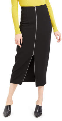 Theory High-Waist Zip-Front Crepe Midi Skirt