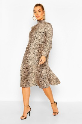 boohoo Plus Animal Print Smock Midi Dress