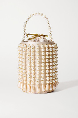VANINA La Comedie Embellished Satin-twill And Gold-tone Tote - Neutral