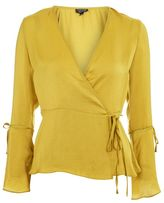 Topshop Hammered satin wrap blouse