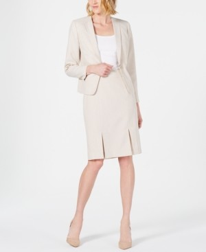 Le Suit Seamed Pleated Skirt Suit