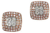 Effy 14K Two-Tone Gold and 0.85TCW Diamond Square Stud Earrings