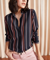 New Laviva Women's Button Down Shirts Black - Black & Pink Stripe Button-Up - Women