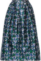 Oscar de la Renta Printed Silk-mikado Midi Skirt - Blue