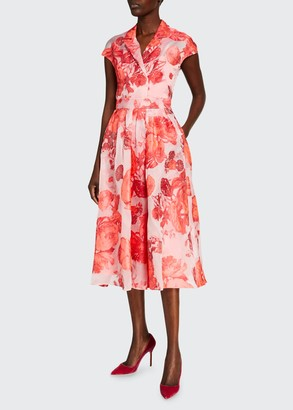 Lela Rose Oversized Rose Fil Coupe Cap-Sleeve Full Skirt Dress