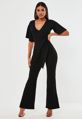 Missguided Petite Black Plunge Kimono Sleeve Romper