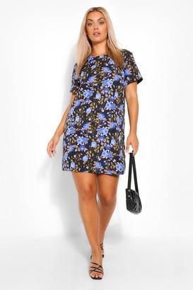 boohoo Plus Blue Rose Printed Shift Dress