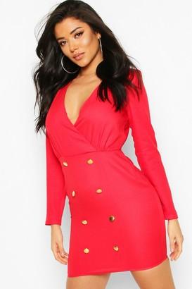 boohoo Collarless Blazer Dress With Button Detail