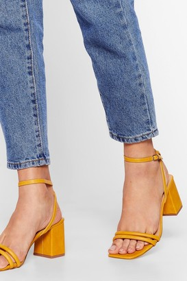 Nasty Gal Womens Alcohol Faux Suede Me Do It Strappy Block Heels - Yellow - 3