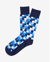 Express check print dress socks