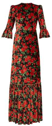 The Vampire's Wife The Wild Rose Floral-print Velvet Dress - Womens - Black Red