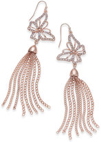 Thalia Sodi Rose Gold-Tone Pavé Butterfly Chain Tassel Drop Earrings, Only at Macy's