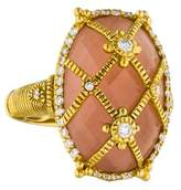 Judith Ripka 18K Rose Quartz & Diamond Cage Ring