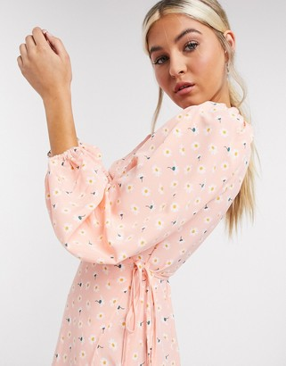 Glamorous maxi wrap dress with volume sleeves in pink vintage ditsy floral