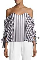 Caroline Constas Gabriella Off-the-Shoulder Striped Top, Black/White