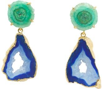 Yaa Yaa London 'Summer Love' Blue Green Gemstone Gold Statement Earrings