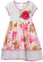 Iris & Ivy Striped Knit Floral Chiffon Dress (Toddler & Little Girls)