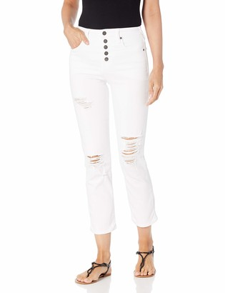 True Religion Women's Starr High Rise Straight Leg fit Jean with Distressed