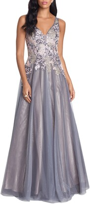 Xscape Evenings Embroidered Tulle Gown