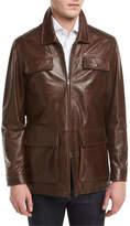 Isaia Vintage Lamb Leather Safari Jacket, Brown